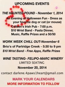 UPCOMING EVENTS NOVEMBER 2014